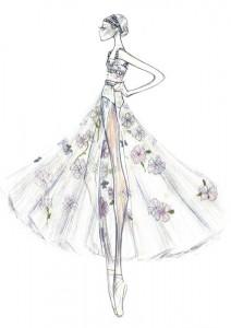 Bozzetti costumi Dior per Nuite Blanche all'Opera di Roma